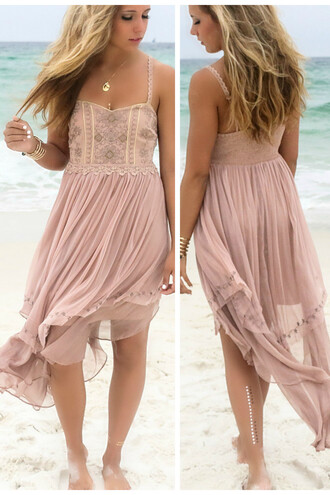 dress gypsy amazinglace rose embellished chiffon high-low dresses summer beach
