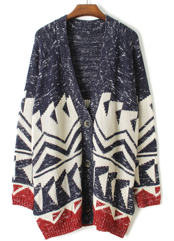 sweater red blue white cardigan warm aztec indie trendy