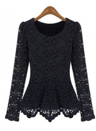 top girly peplum long sleeves
