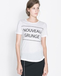 Shirt nouveau grunge white letters printed round neck short sleeve t