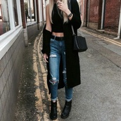 pants,shirt,jeans,denim,grunge,tumblr outfit,ripped jeans,blouse,boyfriend jeans,ripped,belt,black belt,ankle boots,black boots,boots,halter crop top,crop tops,halter top,black crop top,black top,black coat,black handbag,black shoulder bag,watch,all black everything,style,stylish,trendy,cute,grunge top,grunge crop top,grunge wishlist,tumblr clothes,tumblr,cool,girl,streetstyle,streetwear,blogger,edgy,casual,instagram,goth hipster,urban,blonde hair,rock,mom jeans,date outfit,cropped,clothes,gorgeous,women,fashionista,chill,rad,on point clothing,coat