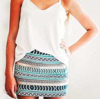 skirt colorful aztec stripes mini