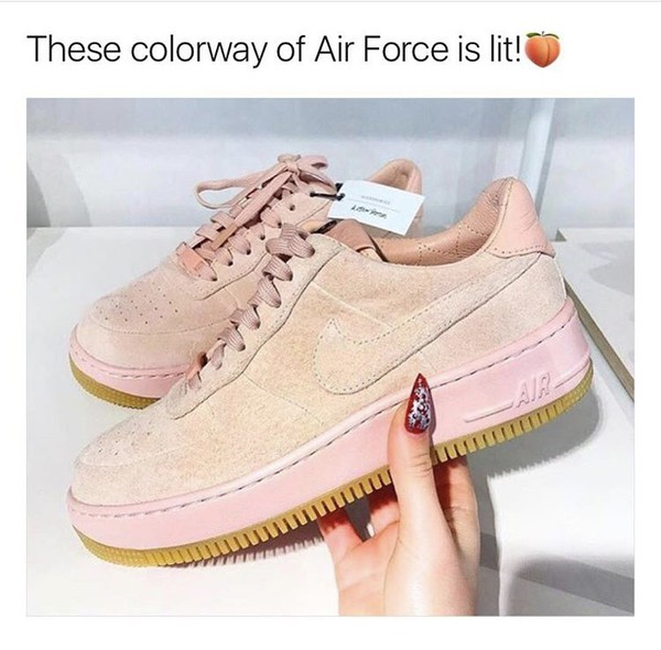 Nike Air Force 1 Upstep Premium Trainers In Pink Suede at ...
