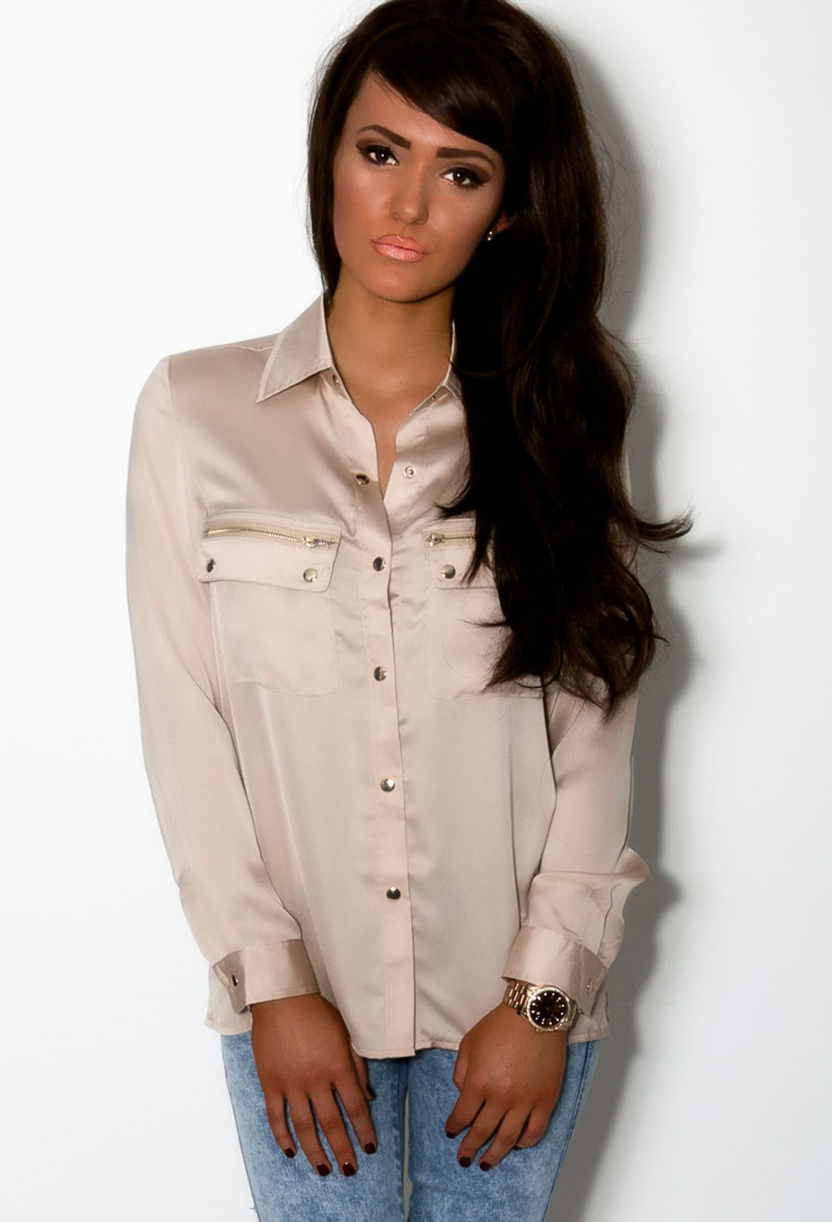 Gia Nude Long Sleeve High Shine Pocket Shirt | Pink Boutique