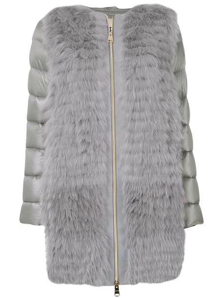 Herno jacket puffer jacket fur fox women cotton grey