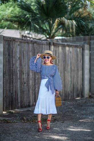 skirt midi skirt eyelet pencil skirt pencil skirt blouse gingham front tie blouse red sandals summer bag summer hat sunglasses blogger blogger style