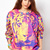 Red Dip Dye Tiger Face Print Round Neck Sweatshirt - Sheinside.com