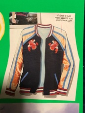 jacket,fish pattern,embroidered