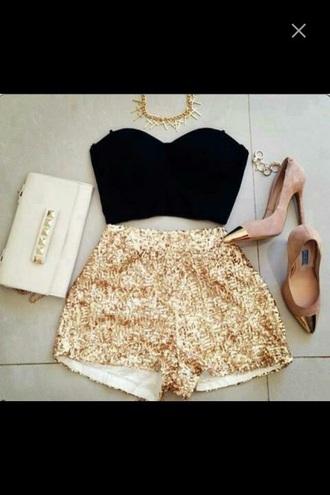 shorts gold sequins shoes top