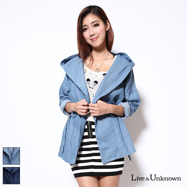 Drawstring Hooded Denim Jacket - L&U | YESSTYLE
