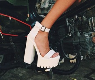 shoes white heels white chunky heels white platform heels platform heels platform high heels ankle strap heels