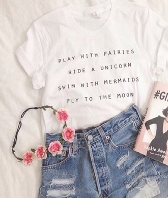 shirt sweater t-shirt hair accessory white t-shirt white quote on it denim shorts top grunge cute tumblr hipster shorts ripped shorts high waisted shorts graphic tee
