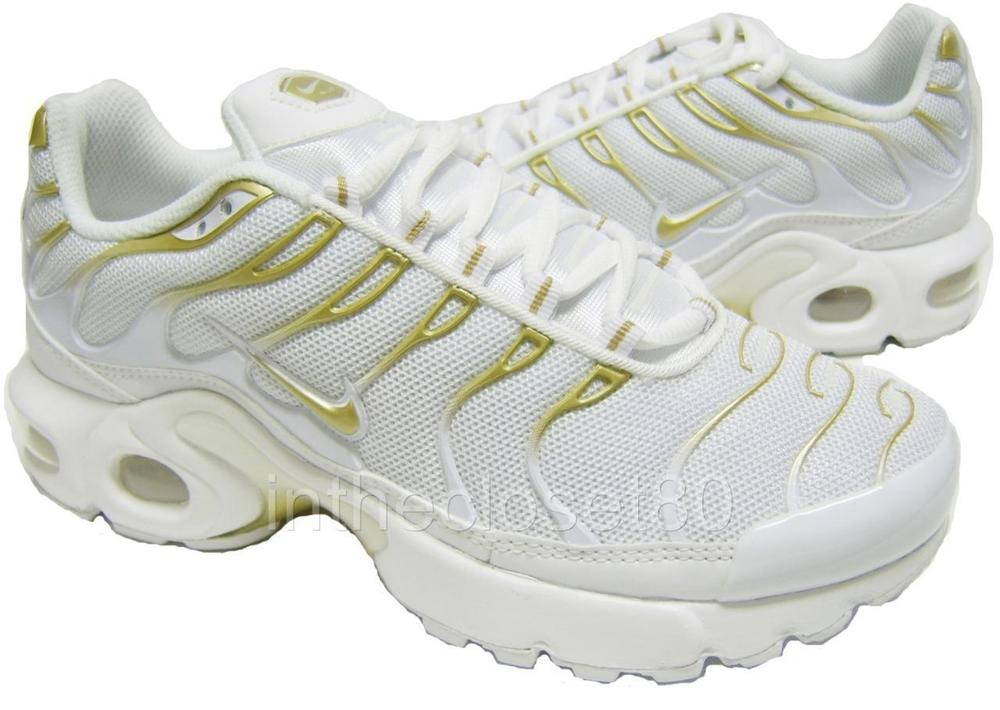 623bc678eff Nike Air Max Plus GS Tn White Metallic Gold Juniors Womens Boys Girls 655020