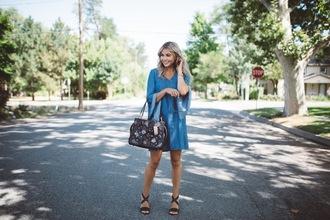 cara loren blogger dress bag shoes sunglasses jewels blue dress summer dress summer outfits sandals