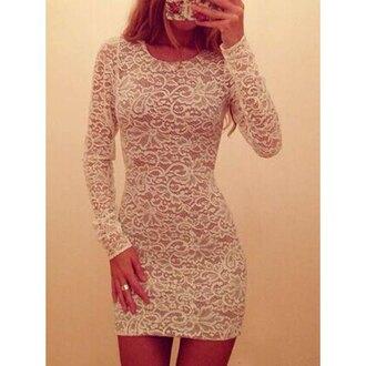 dress lace long sleeves trendy romantic summer dress fashion style party cute feminine girly rose wholesale-feb