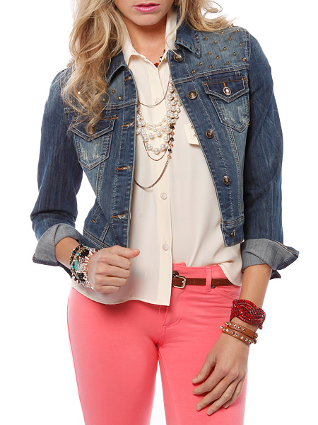 Papaya clothing online :: studded shoulder denim jacket