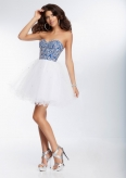 Short Homecoming Dresses From Sticks And Stones By Mori Lee Dress Style 9265 Satin and Tulle with Beading