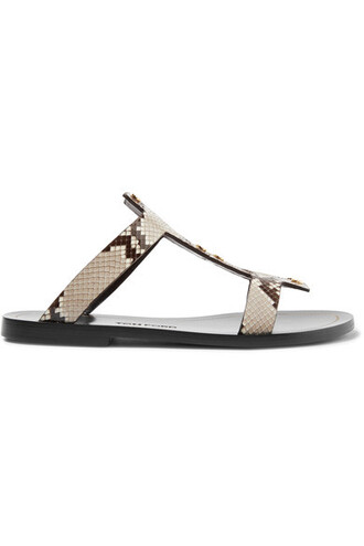 python embellished sandals brown shoes