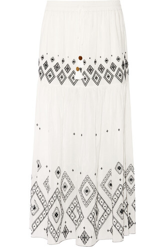 skirt maxi skirt maxi embroidered cotton silk
