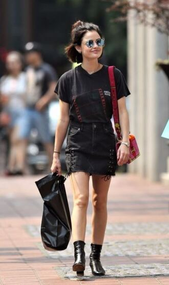 skirt top ankle boots all black everything lucy hale streetstyle mini skirt jewels