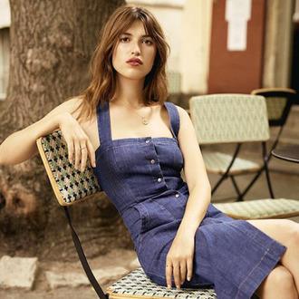 dress jeanne damas fashionista denim dress summer dress blue dress button up necklace