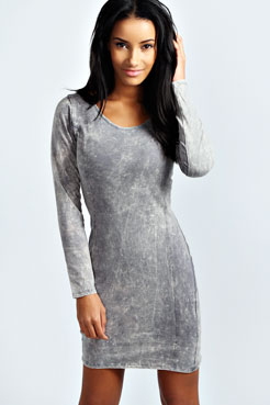 Sophie Acid Wash Bodycon Dress at boohoo.com