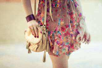 dress brown floral purse clothes hippie classy rosy flowers girl