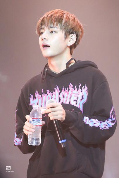 sweater hoodie kim taehyung purple blue black korean idol
