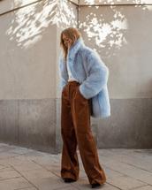 pants,wide-leg pants,brown pants,corduroy,coat,blue coat,faux fur coat,fur coat,oversized,oversized coat