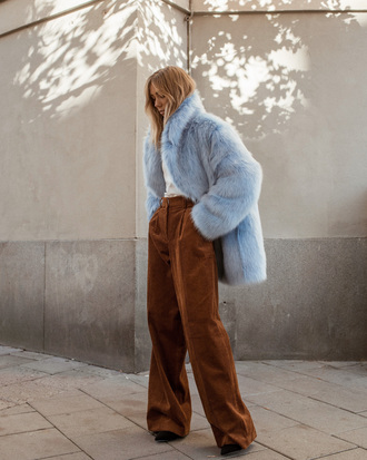 pants wide-leg pants brown pants corduroy coat blue coat faux fur coat fur coat oversized oversized coat
