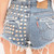 Sasha Half Studded Vintage Shorts - Denim | RUNWAYDREAMZ