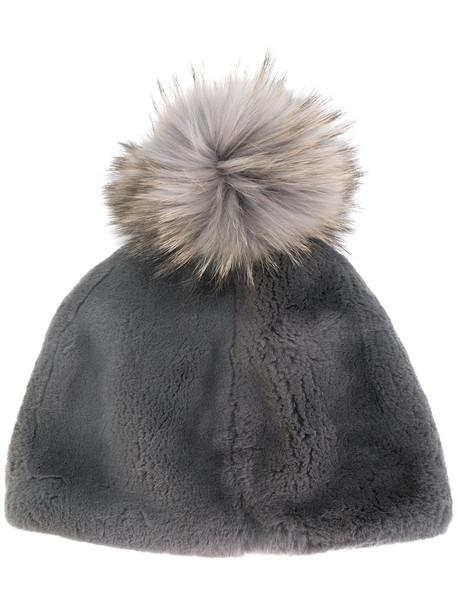 Liska fur fox women beanie pom pom beanie cotton grey hat