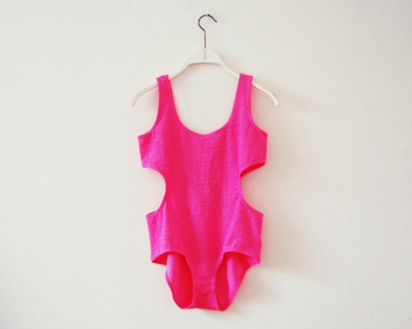 swimwear bikini cut-out swimsuit pink summer beach swimming costume