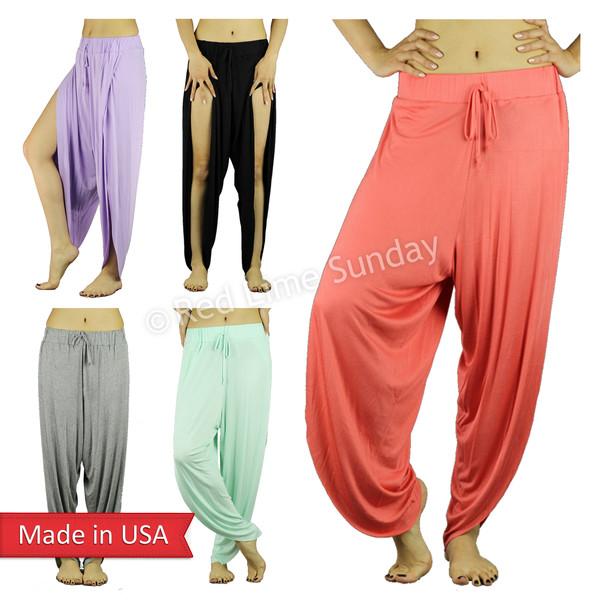 solid color candy color drawstrings casual pants lounge pants casual slit split pants high split tulip pants low crotch two split genie pants celebrity style double split yoga pants harem pants bottoms