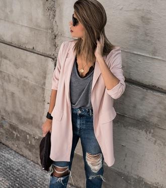 ms treinta blogger jeans jacket jewels bag shoes blazer ripped jeans grey top
