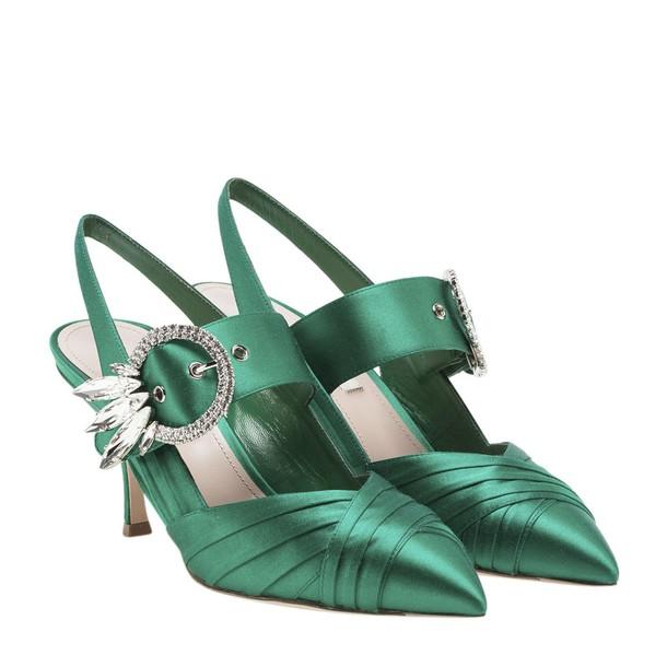 Miu Miu embellished pumps satin green shoes
