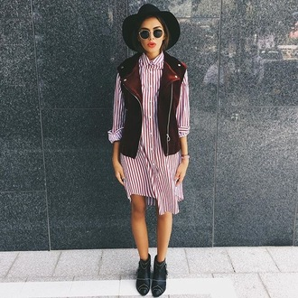 jacket vest sleeveless velvet red burgundy dress shirt dress hat black midi dress