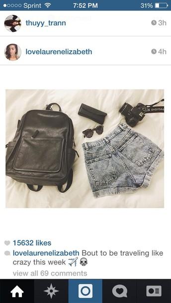 bag shorts sunglasses