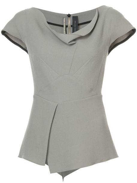 Roland Mouret - draped neck blouse - women - Wool - 10, Nude/Neutrals, Wool