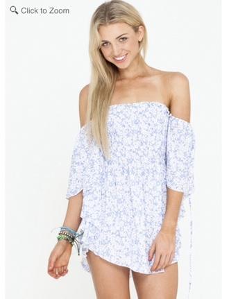 dress floral dress blue floral dress off the shoulder dress boho bohemian dress off the shoulder