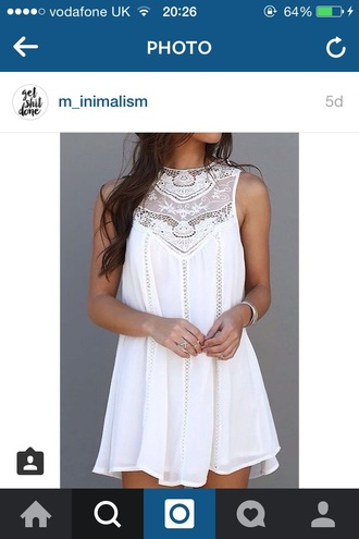 dress white cream lace crochet pretty summer spring warm weather hot