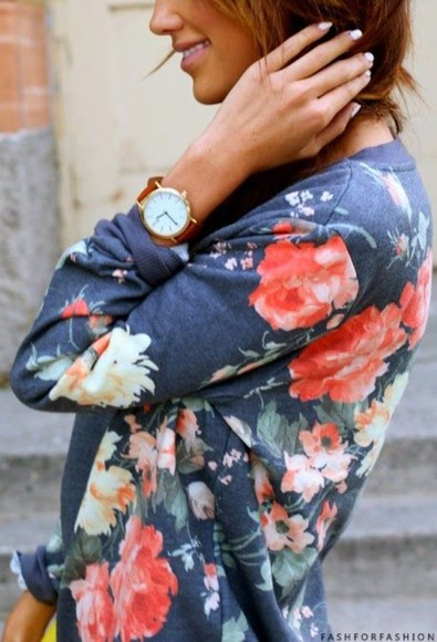 long sleeve floral flower shirt roses sweater clothes flower sweater shirt floral watch sweater cardigan floweral print