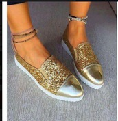 shoes,gold,sparkle,white,flats