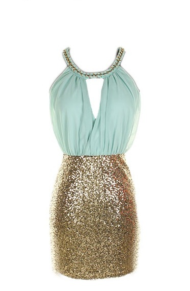 Teal/Turquoise Cocktail Dress - Colorblock Dress | UsTrendy