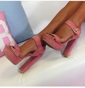 shoes,high heels,block heels,high heel sandals,style,strappy heels,strappy sandals,rose,pink shoes,pink high heels,heels,pink