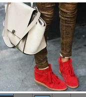 shoes,wedge sneakers,red sneakers,isabel marant,jeans