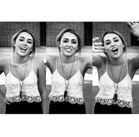 miley cyrus shirt white lace tumblr crop cropped tank top spaghetti strap
