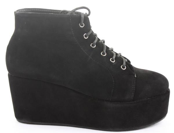 shoes leather platform shoes lace up black boots