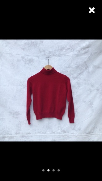 sweater red turtleneck vintage retro warm indie indie cute cool aesthetic pale soft grunge 90s style jumper aesthetic tumblr red dress 90s grunge blouse long sleeves