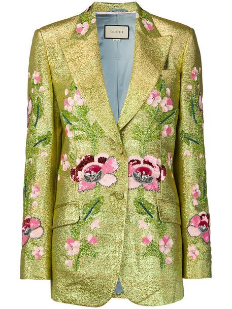 gucci blazer embroidered women floral silk grey metallic jacket